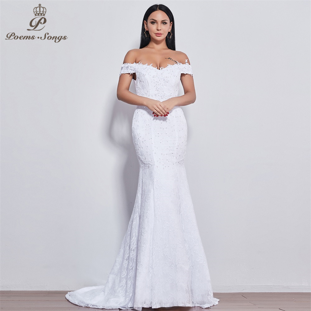 Poems Songs New Style  Beautiful Flower Lace Wedding Dress Vestido De Noiva Mermaid Wedding Dress Robe Mariage 520