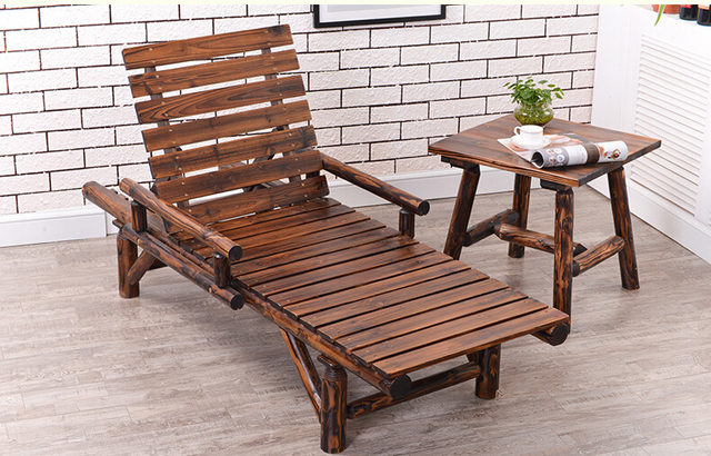 Wood Sun Lounger With Double Arm Adjule Back And Side Tray Outdoor Furniture Garden Patio Beach