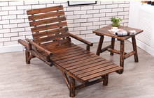 Wood Sun Lounger with Double Arm Adjustable Back and Side Tray Outdoor Furniture Garden Patio Beach Sun Bed Lounger Chaise Chair
