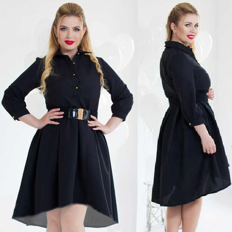 ... Big size 6XL 2018 Fat MM Woman dress Autumn long sleeve Elegant Loose patchwork  dresses plus ... 2daa32b9ce27