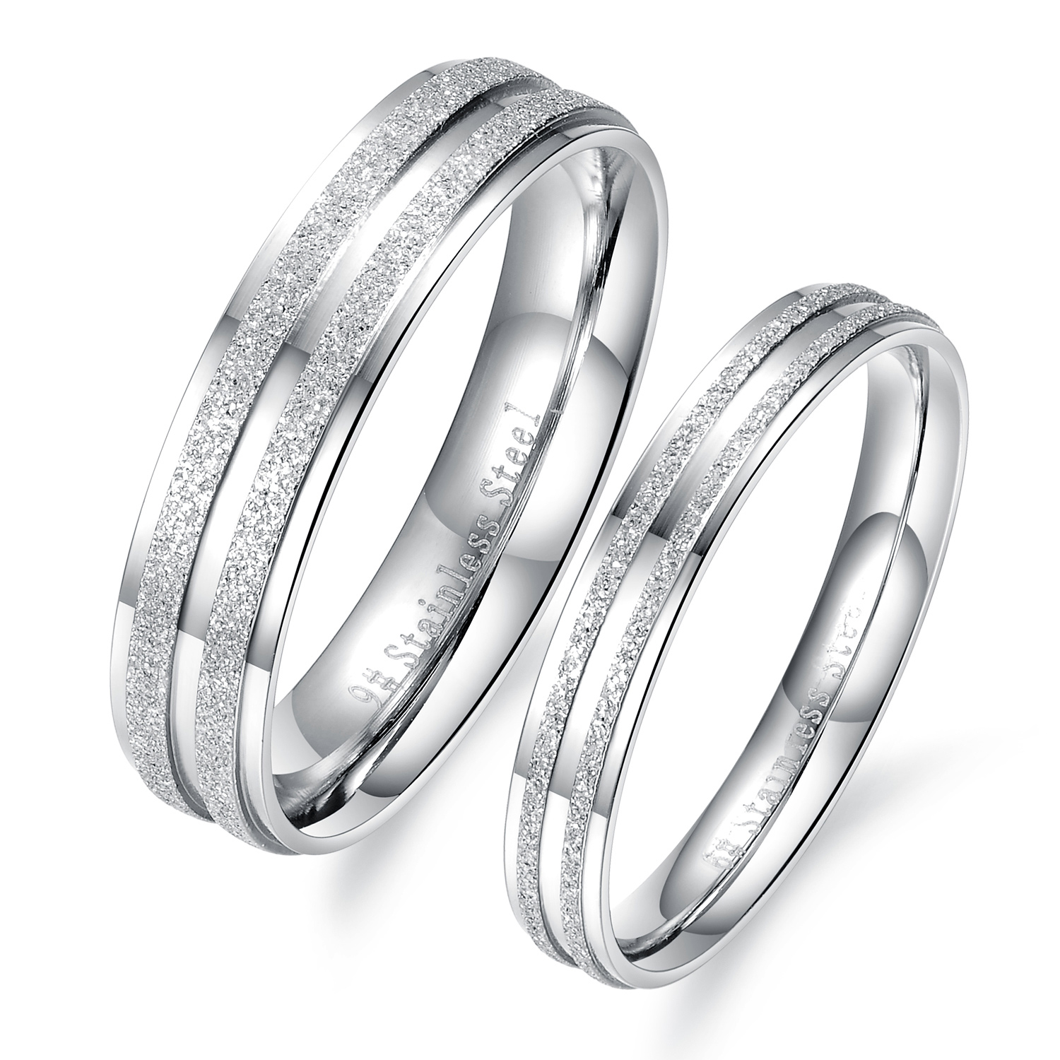 Fashion Simple Design Lovers' Engagement Wedding Rings Bands New Trendy 2015 Dull Polish Stainless Steel Women Men Jewelry: Simple Unique Wedding Bands For Women At Websimilar.org