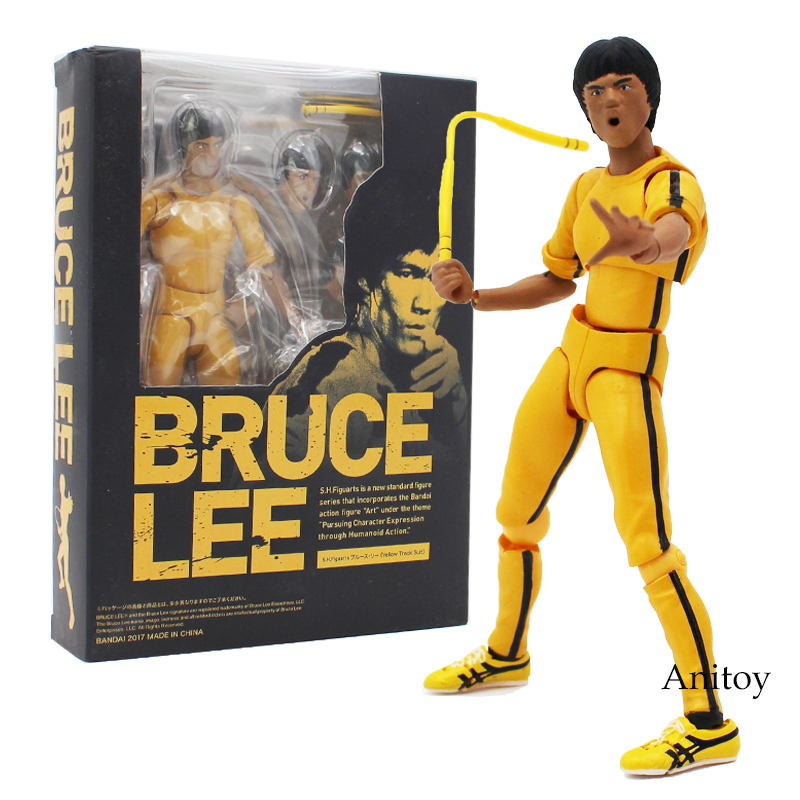 SHF S.H.Figuarts Bruce Lee Yellow Track Suit Ver. 75th Anniversary Edition PVC Action Figure Model Toy 14-15cm 3Styles shfiguarts batman injustice ver pvc action figure collectible model toy 16cm kt1840