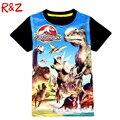 Новое лето детская мода стиль динозавр мальчиков футболки классический Миру Юрского и парк шорты для детей мальчиков