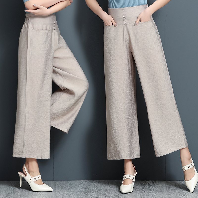 2019 New Summer Fashion High Waist   Wide     Leg     Pants   Plus Size Elastic Waist Trousers Pockets Loose   Pants   Women Plus Size 4XL