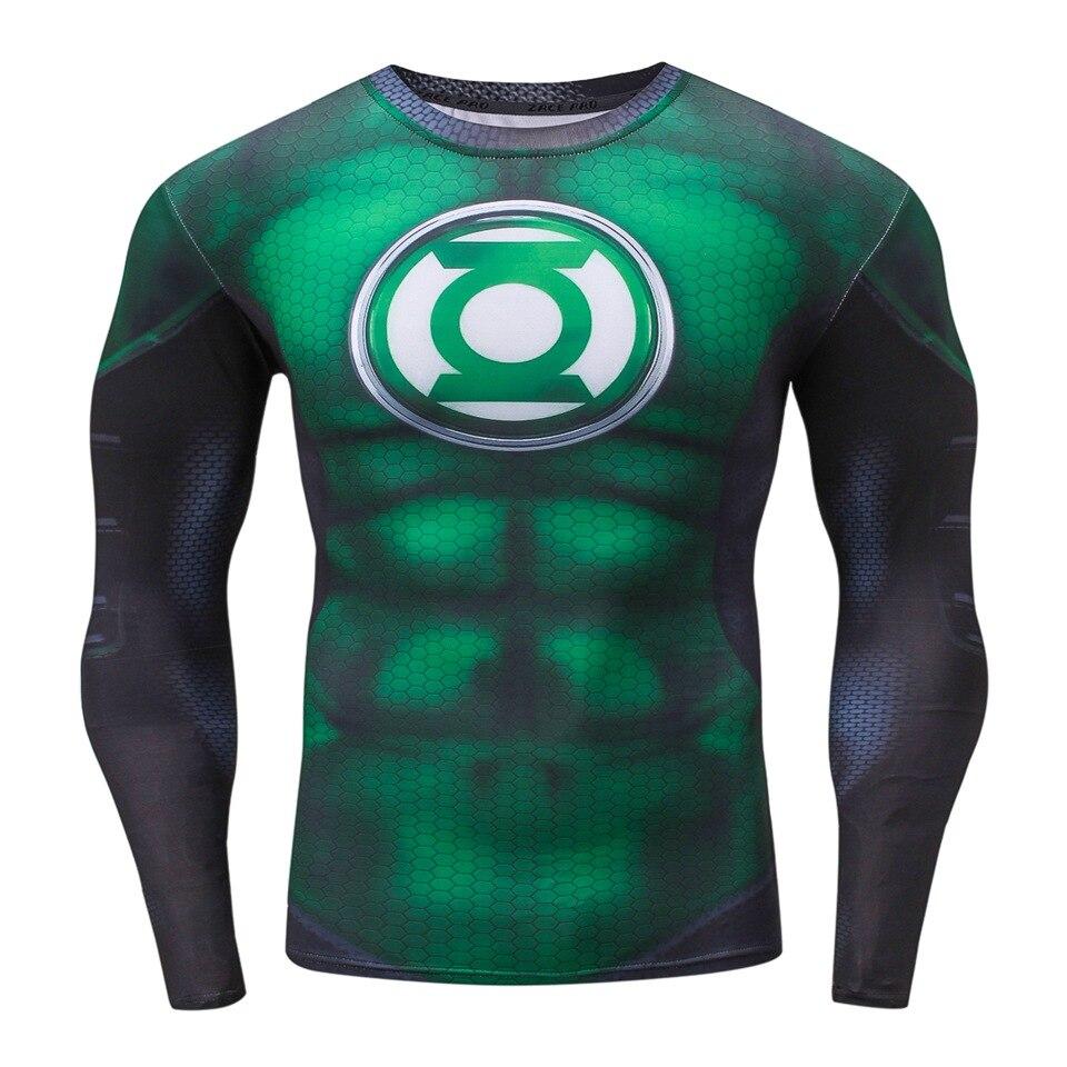 2018 New Compression Shirts Superheros Green Lantern 3D Print T Shirt Long Sleeve Fitness Clothing