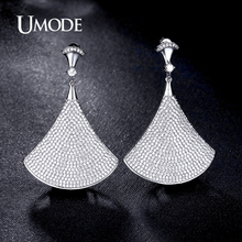 UMODE New Drop Earrings For Women Paved CZ  Rhodium plated Ginkgo Biloba Shaped Big Earrings Fashion Jewelry AUE0200