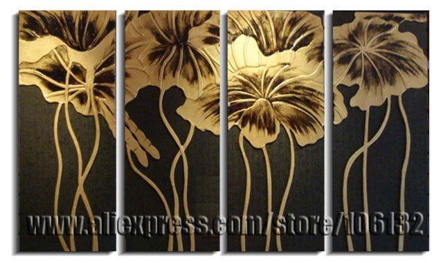 Beau Framed 4 Panel Large Gold Lotus Flower Painting Chinese Wall Art Picture  Canvas Art Home Decor