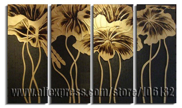 Genial Framed 4 Panel Large Gold Lotus Flower Painting Chinese Wall Art Picture  Canvas Art Home Decor A0766