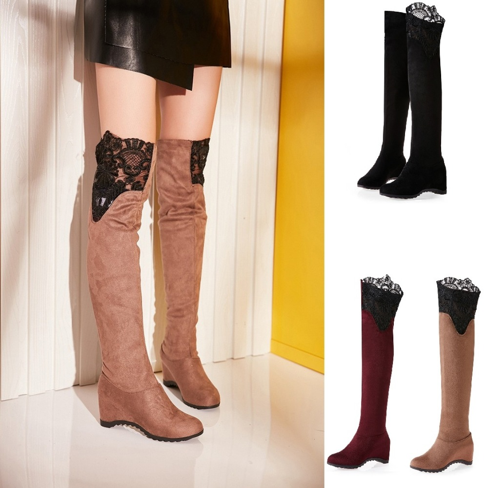 цены на 2016 New Brand Women Boots Over The Knee Suede Leather Hollow out Thigh High Platform Boot Big Size Sexy Lady Botas Mujer Zapato