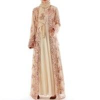 Dubai Kaftan Dress Muslim Party Abaya Women Arabic Sequins Cardigain Embroidery Turkey Islam Prayer Caftan Marocain Dresses