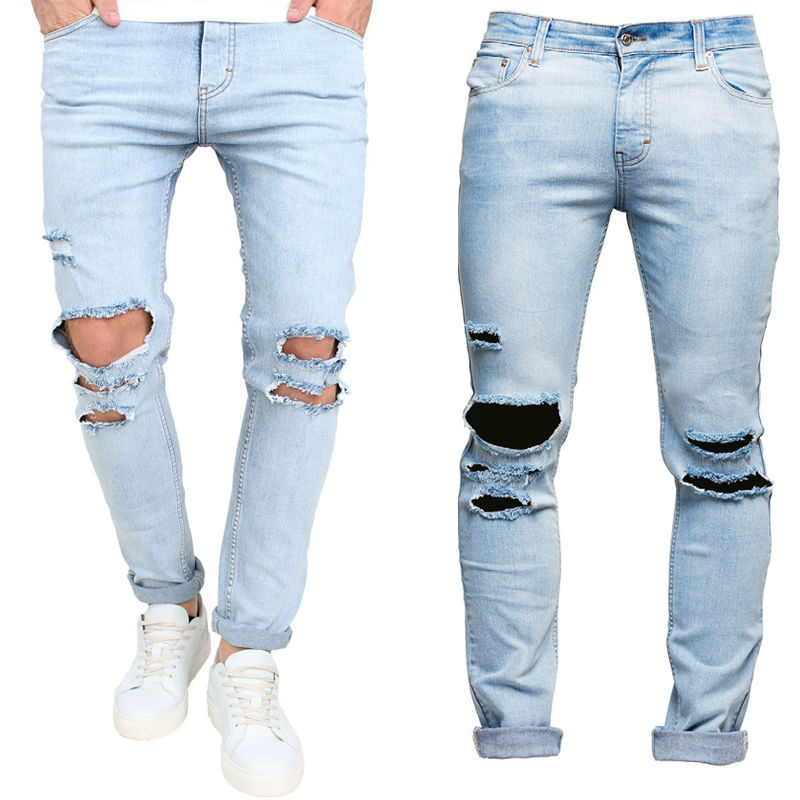 Fashion Mens Ripped Slimfit Skinny Jeans Stretch Denim Distress Frayed Pencil Pants Jeans Boys Stylish Long Skinny Hole Jeans sulee brand 2017 mens plus size jeans stretch dark blue denim slim long trouser jean pants big and tall trendy mens clothing