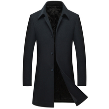 MIACAWOR New Winter Wool Coats Men Thicken Cashmere Overcoat Long Trench Jacket Fashion Manteau Homme J527