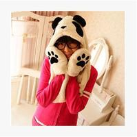 Czapka casquette touca gorro czapki szalik z kapturem pluszowa panda panda czapka rękawiczki szalik miłośnicy zimowych śliczne ciepłe grube jeden zestaw