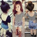 2016 New Summer Children Clothing Kids Girls Backless T Shirts Solid Striped Cotton Modal Short Sleeve T-Shirt Children Clothes