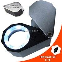 6 luce del LED, 21mm lente Pieghevole 10x Triplet Lente Ottica di Ingrandimento Gioielliere Loupe Lente di Ingrandimento Strumenti di Gioielli