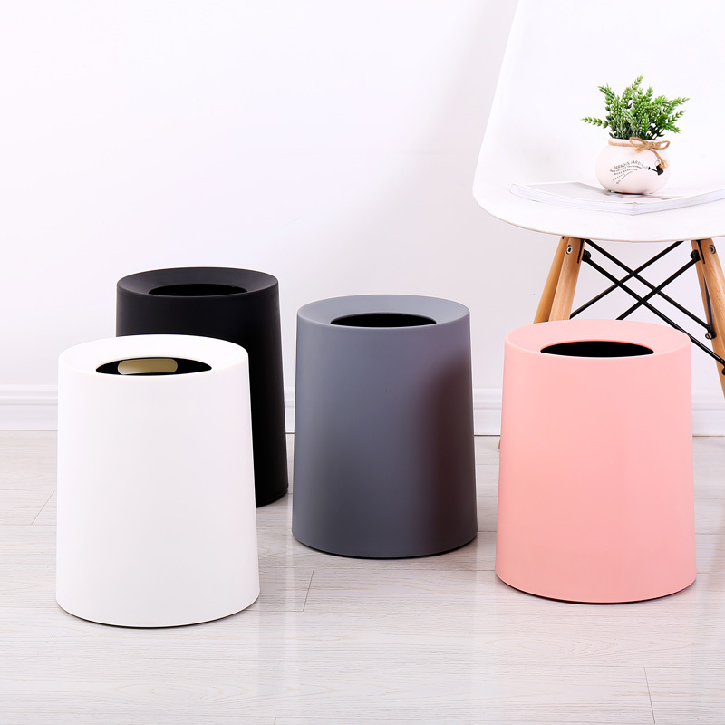 North European Style Plastic Matte Trash Can Office Living Room Kitchen Bathroom Double-layer Trash Bin Waste Bins without Lid