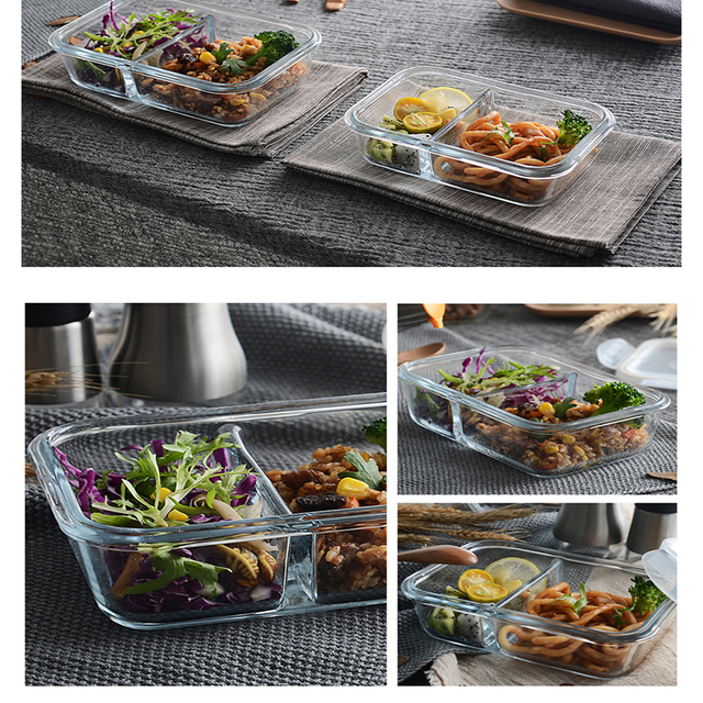 Food Glass Meal Prep Containers 2 Compartment leakproof borosilicate Lunch box  Bento Box with lids Freezer Microwave oven 1