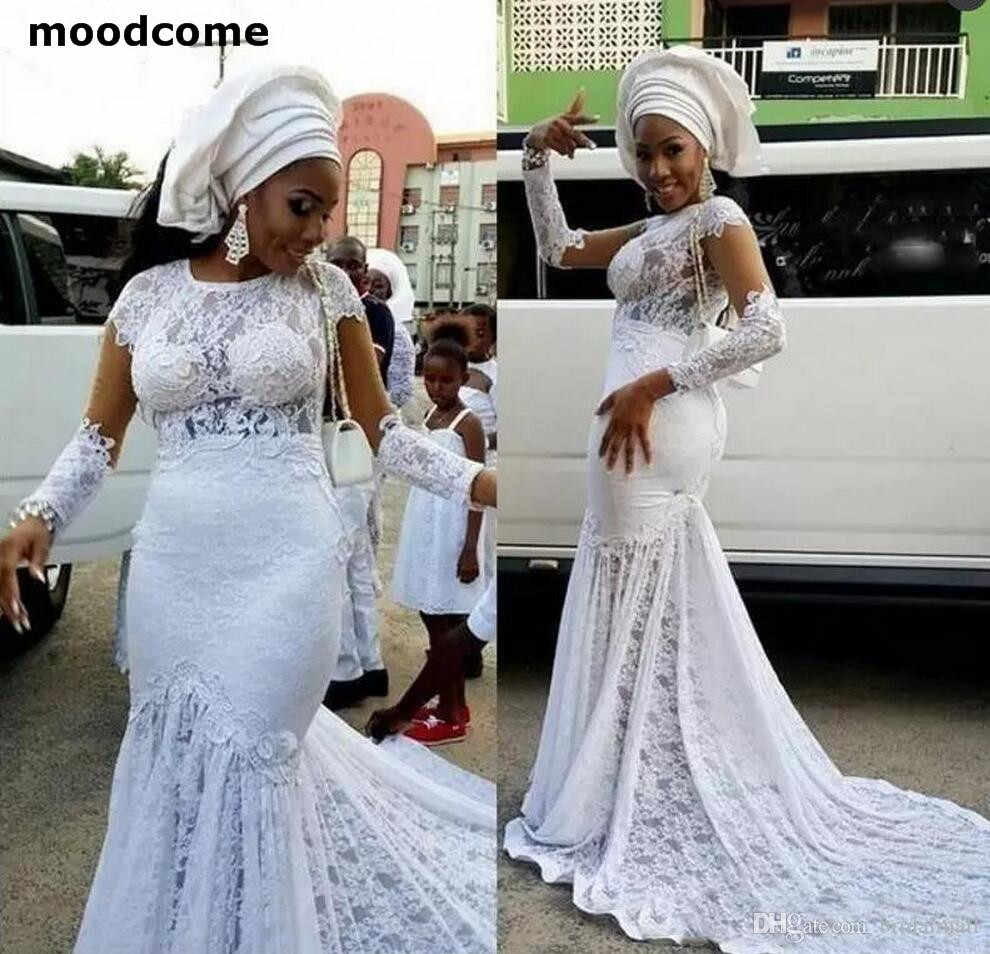 African Mermaid Wedding Dresses 2018 Count Train Illusion Long Sleeves Lace  Wedding Dress Personalized Plus Size 3d7295854d0b