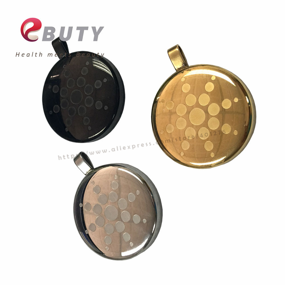 EBUTY Metal Pendant Health Energy Pedants with Stainless Steel Chain Card Fashion Jewelry Black Silver Gold