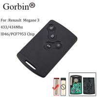 GORBIN 4Button Smart Card Remote Car Key Fob For Renault Megane III Laguna III Scenic Fluence 2008 2016 433MHz PCF7952A Chip key
