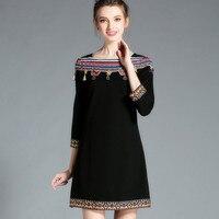 Autumn 2016 Ethical Tribe Women Casual Color Crochet Tussle Trim Slash Neck 3 4 Sleeve Black