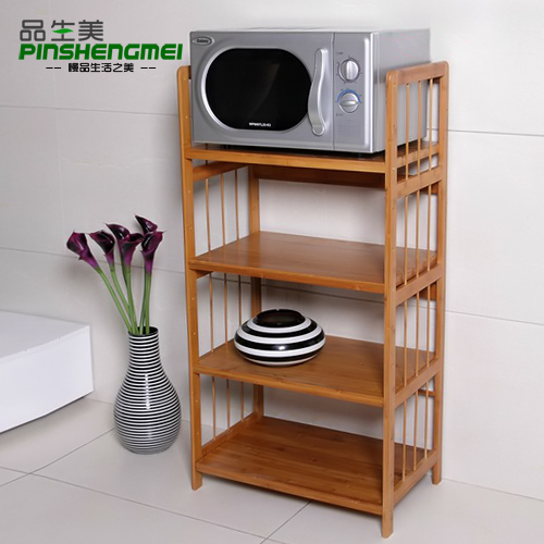 Thick Kitchen Microwave Oven Shelf Storage Rack Ikea Four Bamboo Wood