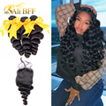 ALI BFF Hair Brazilian Hair Weave Bundles With Closure Remy Human Hair 3 Bundles With Closure Loose Wave Bundles With Closure