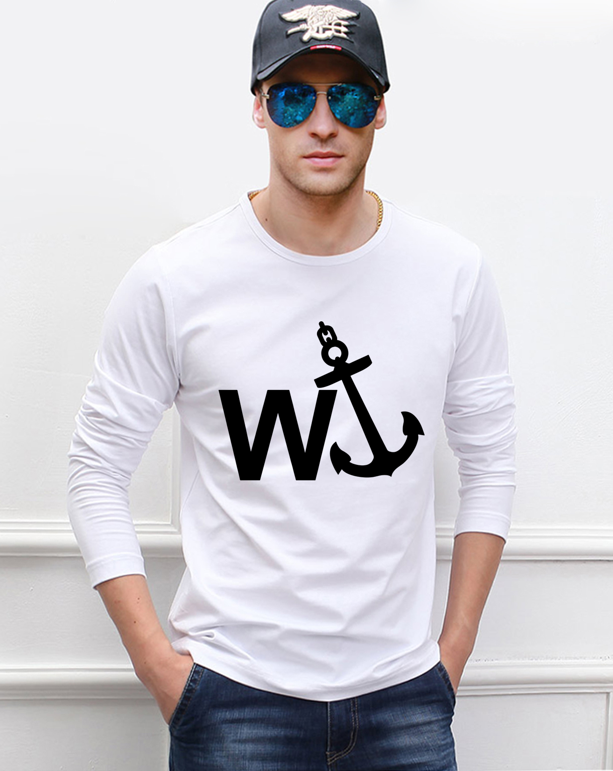 W'Anker Anchor Personalized Rude men t shirt 2019 spring 100% cotton hip hop men's long sleeve t-shirts crossfit funny top tees