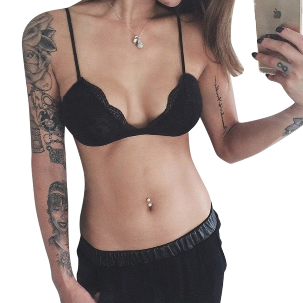 ea518ccbd2e Hot 2017 Sexy Womens Plunge Bra Lace Crochet Bralette Bra Tops Non Padded  Push Up Bras Underwear Strappy Lingerie Crop Top-in Bras from Underwear ...