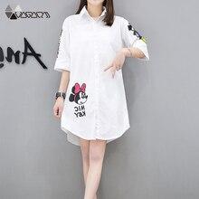 Spring Summer Striped Shirt White Mickey Minnie Casual Midi Women Cartoon Shirts Street Loose Lapel Half Sleeve Plus Size Top недорого