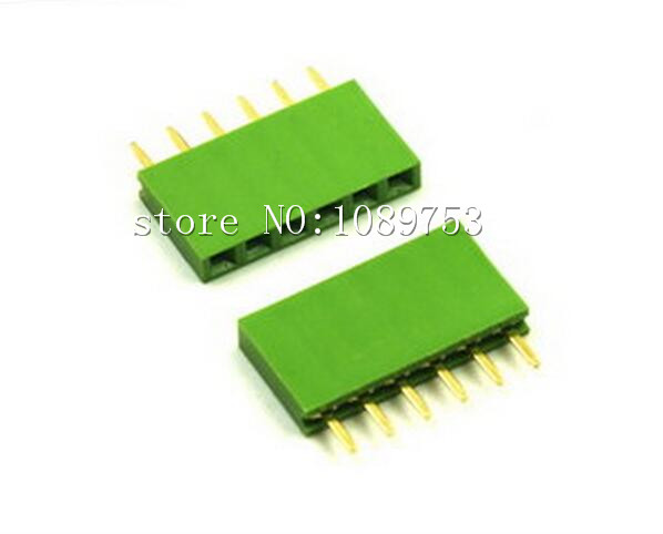 50Pcs Green 2.54mm 6pin 6p Dip Single Row Female Pin Header Connector For Arduino