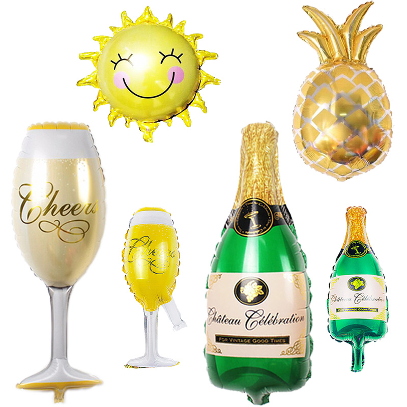 Summer Party Balloons Pineapple/Sun/Beer Cup Foil Balloon Birthday Party Decoration Kids Adult Hawaii Summer Beach Pool Party