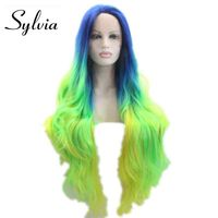 sylvia Heat resistant Synthetic lace front wig ombre blue to green white women long hair replace wig straight glueless wig