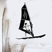 Wall Art Sticker Beach Sports Excited Decoration Removeable Poster Windsurfing Boardsailing Mural Modern Ornament LY434