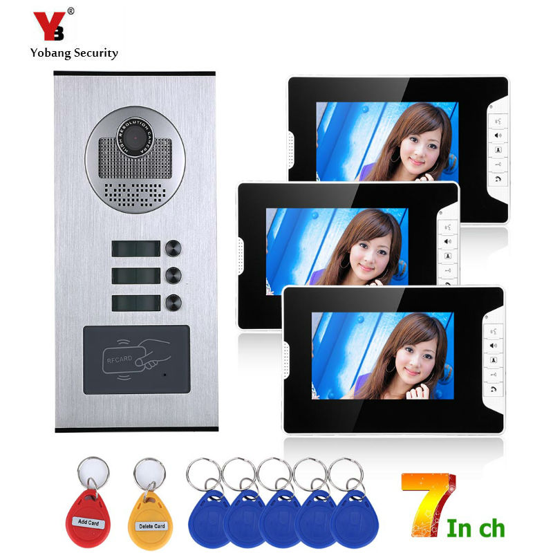 Yobang Security 3 Units Apartment/Flat Rfid Video Intercoms Electronic Doorman With Camera Home Door Phone Doorbell System