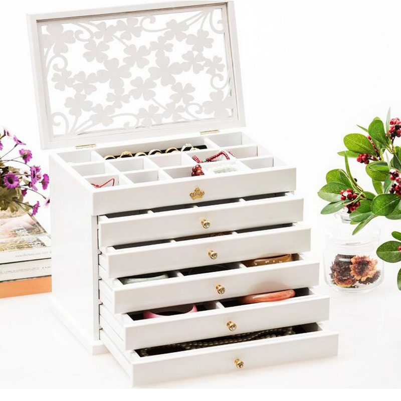 6pcs Luxury Hollow Out Female Large Jewelry Box 6 Drawers Wooden