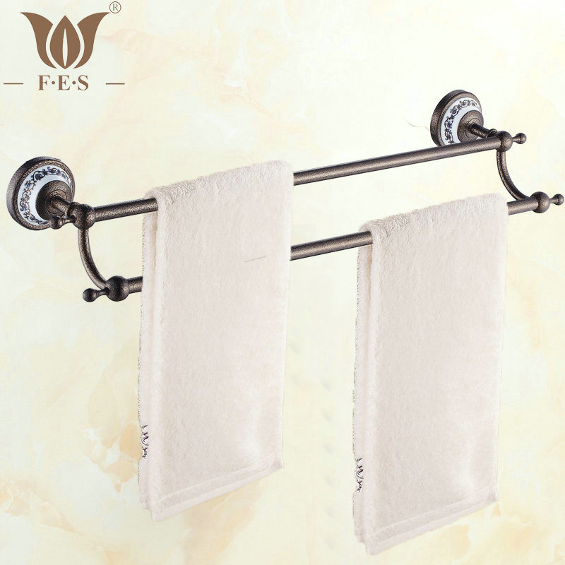 RBP Series Roman Bronze Porcelain Base Wall Mounted Bathroom Accessories Double Towel Bar Towel Rack
