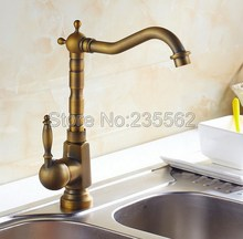 Classic Antique Brass Single Lever Bathroom Basin Faucet Swivel Spout Kitchen Sink Mixer Tap Jan017 все цены