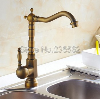 Classic Antique Brass Single Lever Bathroom Basin Faucet Swivel Spout Kitchen Sink Mixer Tap Jan017 wholesale and retail deck mounted nickle brushed basin faucet mixer tap single lever swivel spout