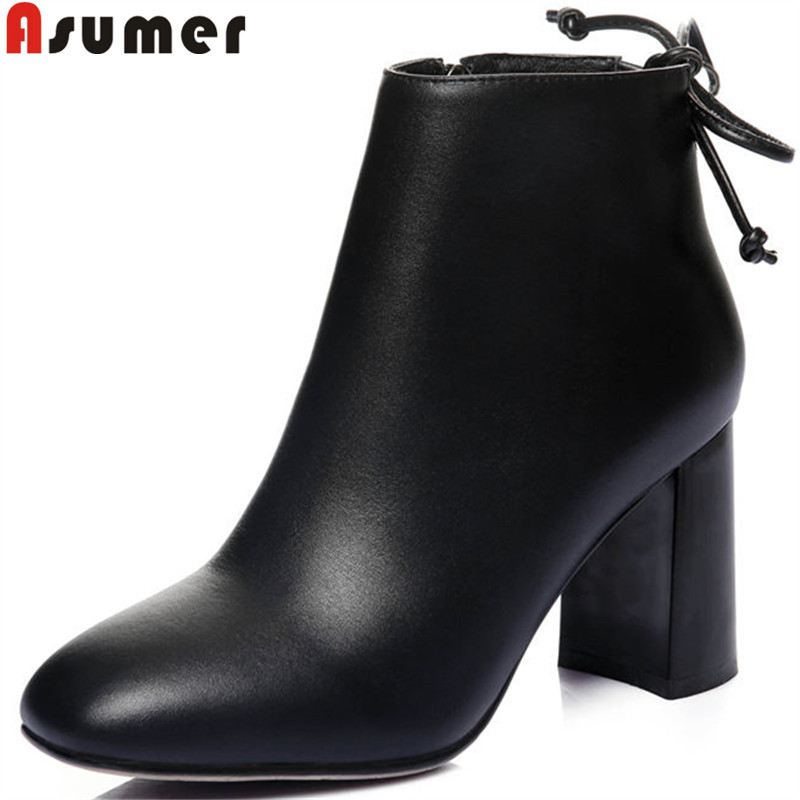 ASUMER black fashion boots women square toe zip cross tied genuine leather boots thick high heels boots ladies prom shoes цена