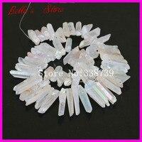 Rough Titanium Clear Quartz AB Crystal Point Spike Beads Natural Raw Druzy Crystal Quartz Stick Drilled Briolettes Pendant