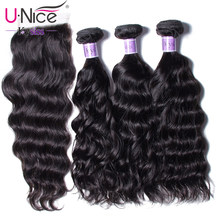 UNice Hair Kysiss Series Peruvian Natural Wave Closure 4*4 Free Part Lace Closure With 3 Bundles Human Hair Weaving Virgin Hair(China)