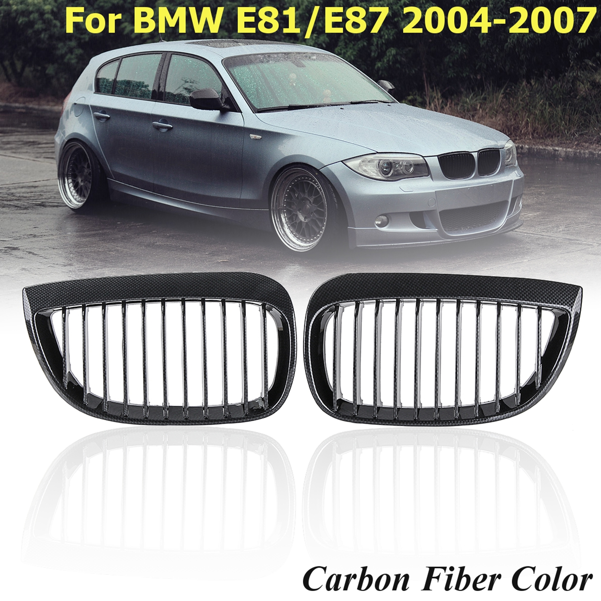 One Pair Carbon Fiber Look ABS Bumper Front Kidney Grille Set High Look Car Styling Racing Grill For BMW E87 2004 2005 2006 2007One Pair Carbon Fiber Look ABS Bumper Front Kidney Grille Set High Look Car Styling Racing Grill For BMW E87 2004 2005 2006 2007