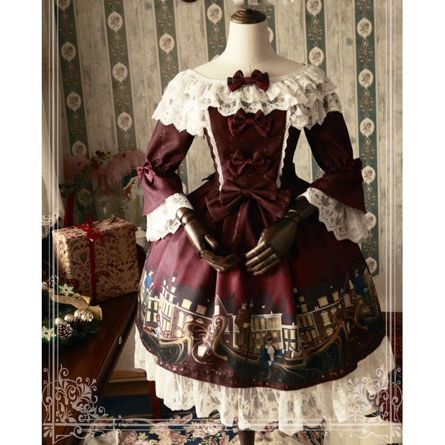 Party Flare Manches ~ burgundy Navy Gondole Lolita Blue Pré Op Sweet Par Magic commande Tea Robe Imprimé wESEfcxqPg