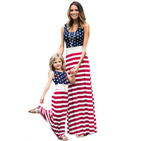 Mother Daughter Dresses Polka Dot Stripe Stitching Family Matching Clothes Summer Fashion Sleeveless Mom Daughter Dress