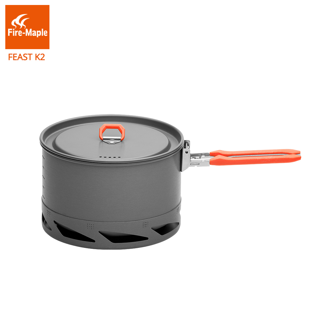 лучшая цена Fire Maple Feast Series K2 1.5L Outdoor Portable Foldable Handle Heat Exchanger Pot Camping Kettle Picnic Cookware 338g FMC-K2