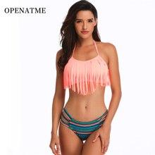 OPENATME 2019 Sexy Backless High Elastic Fringe Split Bikini Set Solid Color Strap Striped Ladies Swimwear Beachwear
