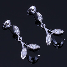 цена Pretty Plant Black Cubic Zirconia White CZ 925 Sterling Silver Drop Dangle Earrings For Women V0728