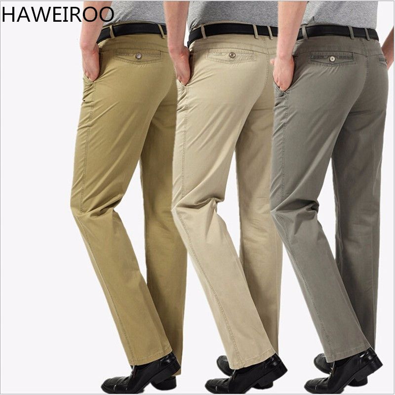 HAWEIROO 100% Cotton High quality Men 's Pants Casual Business Trousers Office Formal Straight Suit Pants Costume Size 40 pants