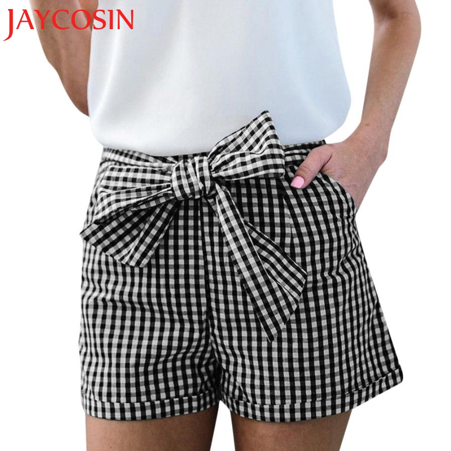 JAYCOSIN 2020 New Women Ladies Summer Casual Bow Printing Plaid Short Pants Trouser Dropshipping July 12